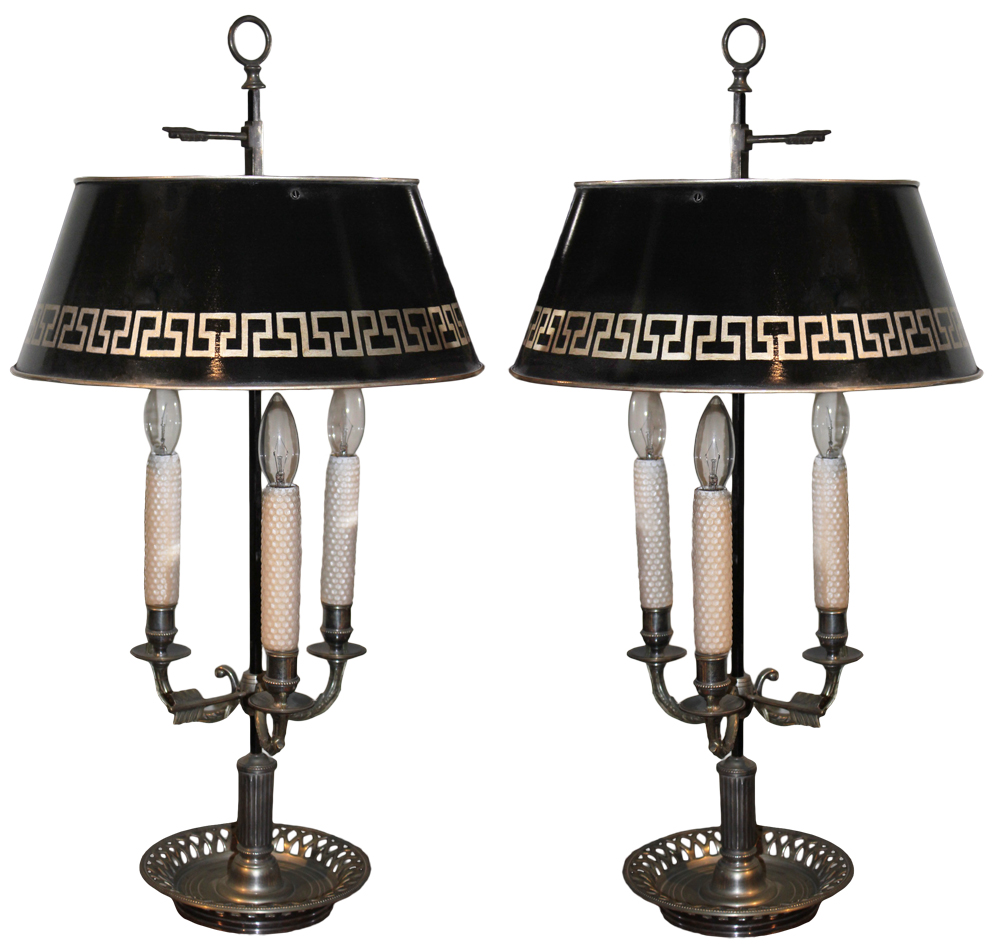 A Rare Pair of Silvered 19th Century Three-Light Boulliotte Lamps No. 2684
