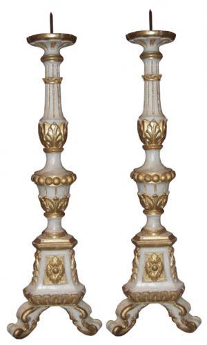 A Pair of 18th Century Italian Polychrome and Parcel-Gilt Pricket Sticks No. 3643