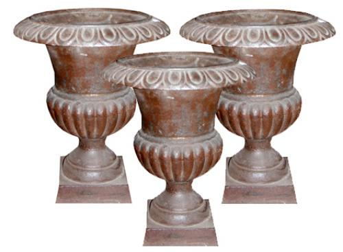 Set of Three 19th Century Italian Cast Iron Borghese Urns No. 3691