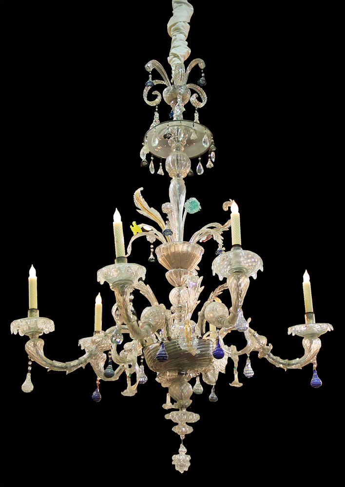A 4-tiered, 6-Light 19th Century Murano Blown Glass Chandelier No. 2758