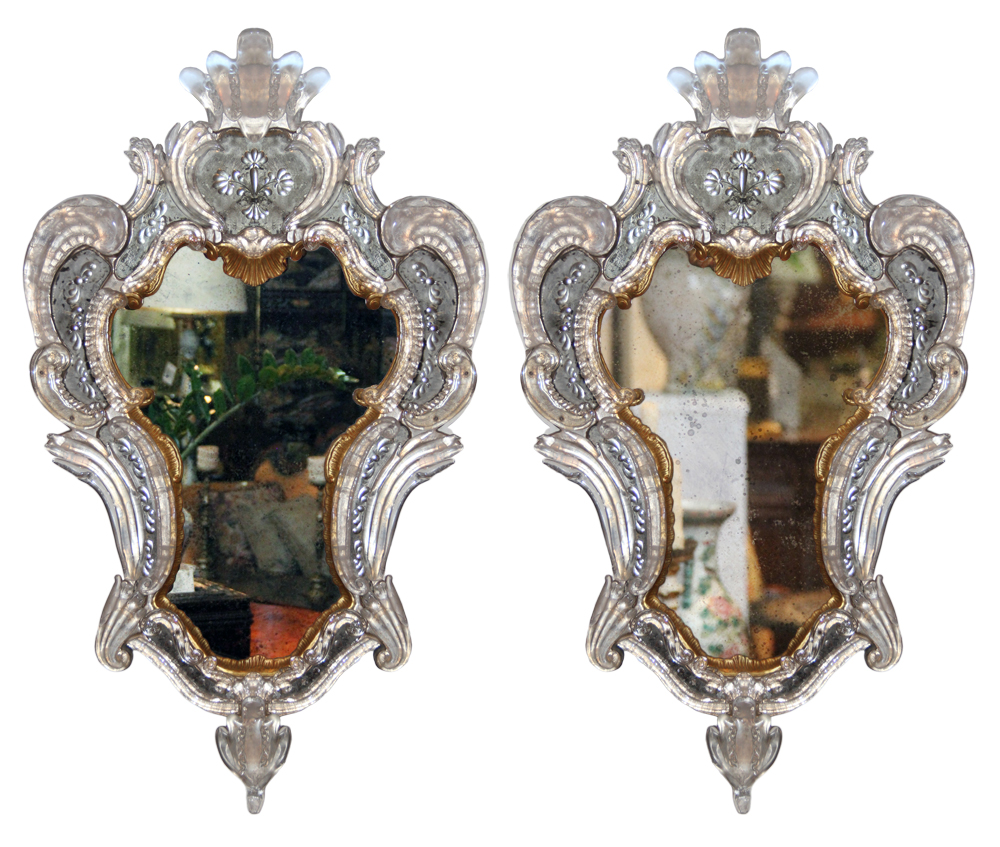 A Pair of Early 19th Century Venetian Parcel-Gilt Mirrors No. 2760