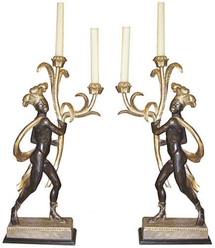 An Extraordinary Pair of 18th Century Italian Polychrome and Parcel-Gilt Blackamoor Candelabras No. 3693
