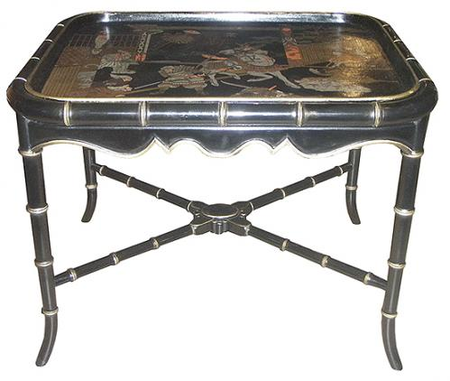 A 19th Century Chinese English Export Black Lacquer Chinoiserie Papier-Mâché Serving Tray No. 3698