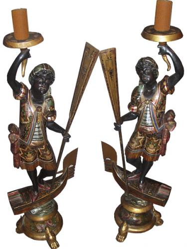 A Pair of 19th Century Venetian Blackamoor Parcel-Gilt and Polychrome Torchères No. 3712