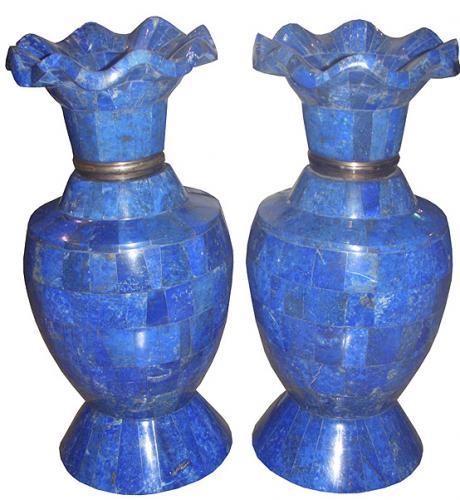 A Pair of Solid Lapis Lazuli Italian Vases No. 3739