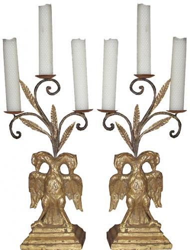 A Pair of 18th Century Italian Giltwood Architectural Ornaments now fitted as Candelabra No. 3819