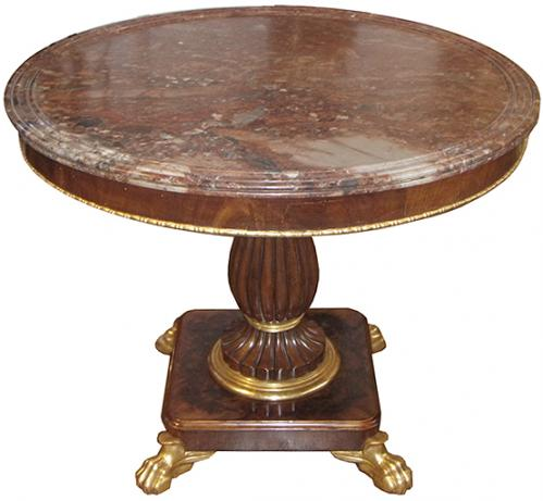 A 19th Century Italian Neoclassical Marble-Topped Walnut and Giltwood Center Table No. 3840