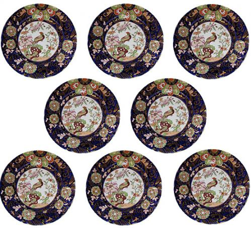 A 19th Century Set of Eighteen Hand-Painted English Ironstone Plates and Serving Platter No. 3795