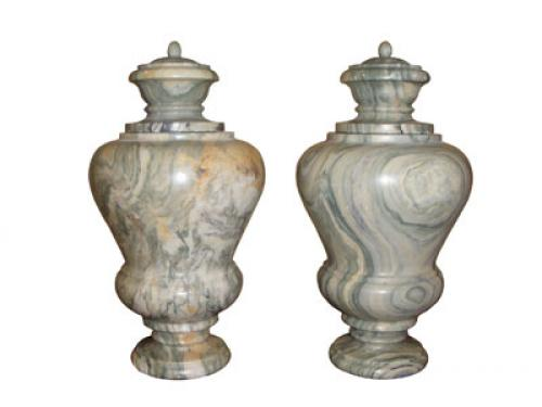 A Pair of 19th Century Neoclassic Verde Egeo Marble Urns No. 3683