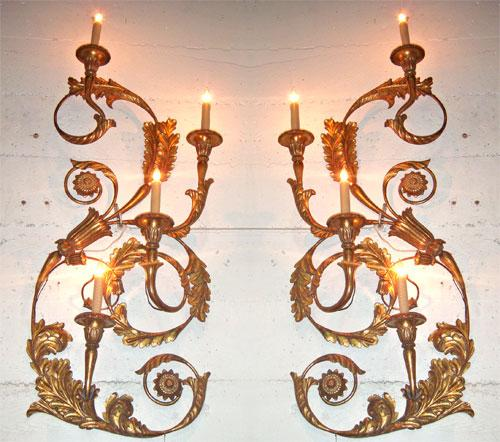 A Dramatic Pair of Gilded Carved Wood and Metal Wall Appliqués No. 3886