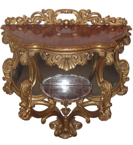 A Tulipwood Topped Giltwood Serpentine Console No. 3851