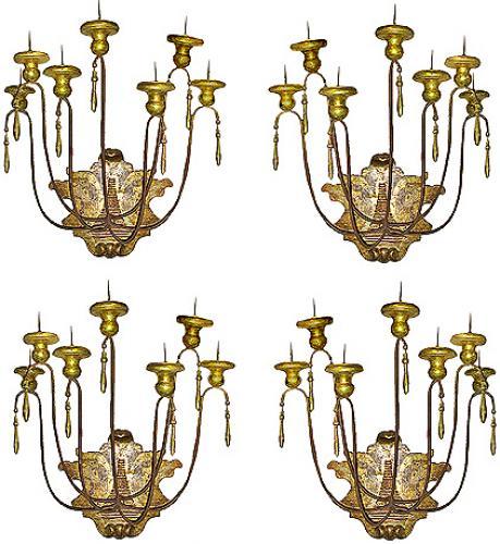 A Set of Four Dramatic 18th Century Silver Giltwood Appliqués No. 2271