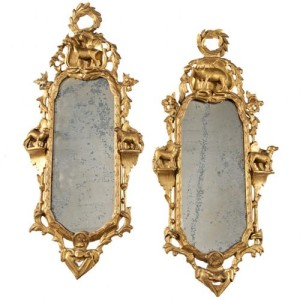 A Unique Pair of 18th Century Italian Transitional Rococo to Neoclassical Empire Giltwood Mirrors No. 3927