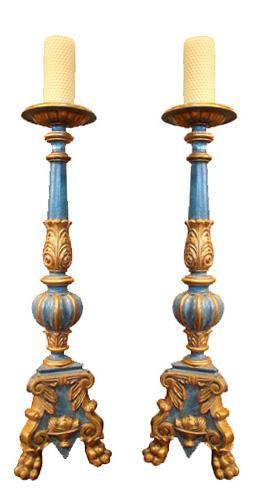 A 19th Century Pair of Ceruse Polychrome and Parcel-Gilt Pricket Sticks No. 3924