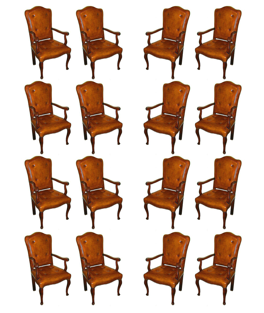 An Exquisite Set of Sixteen Extremely Rare 18th Century Italian Louis XV Walnut Baroque Armchairs No. 29