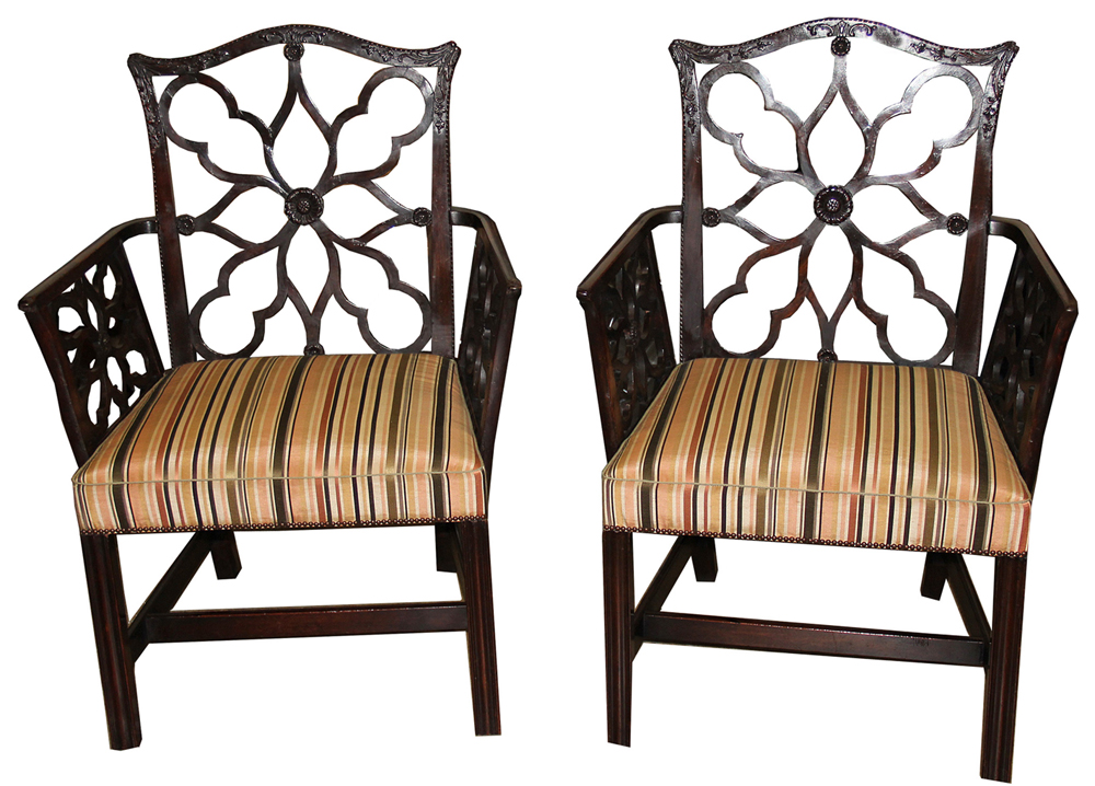 A Pair of 19th Century Georgian Chinese-Inspired Mahogany Latticework Armchairs No. 3007