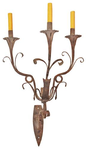 A Set of Three Italian Wrought Iron Sconces No. 1277
