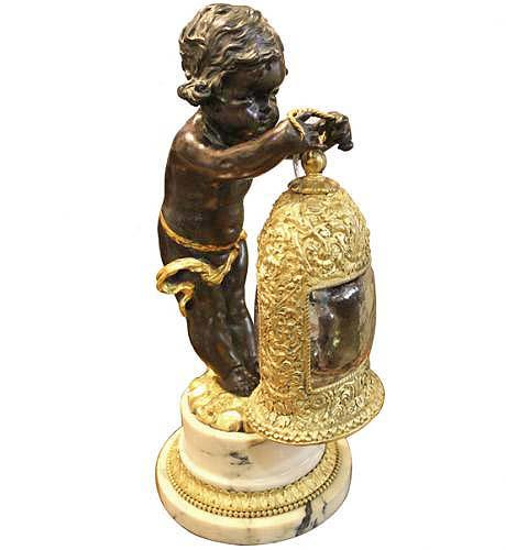 A Charming Early 19th Century Italian Bronze Statue Lamp No. 4003