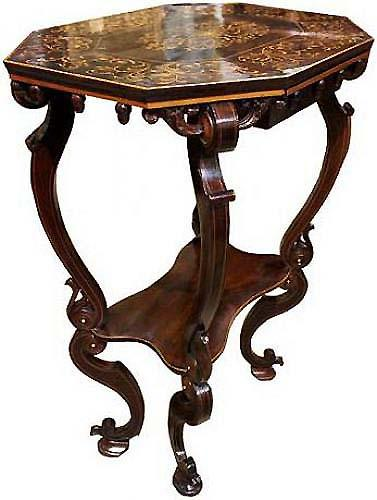 A 19th Century Florentine Ebony and Marquetry Side Table No. 4001