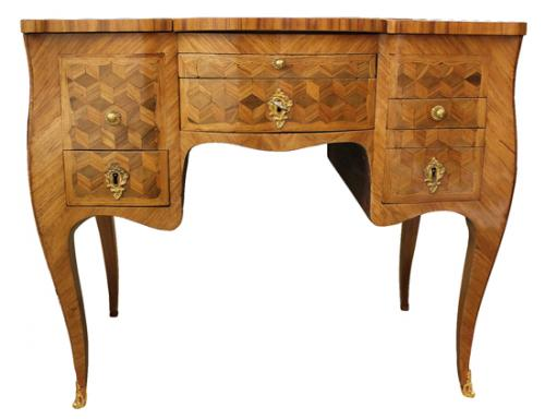 A Louis XV Parisian Amaranth (Purpleheart) and Tulipwood Parquetry Poudreuse Mechanique Dressing Table No. 4006