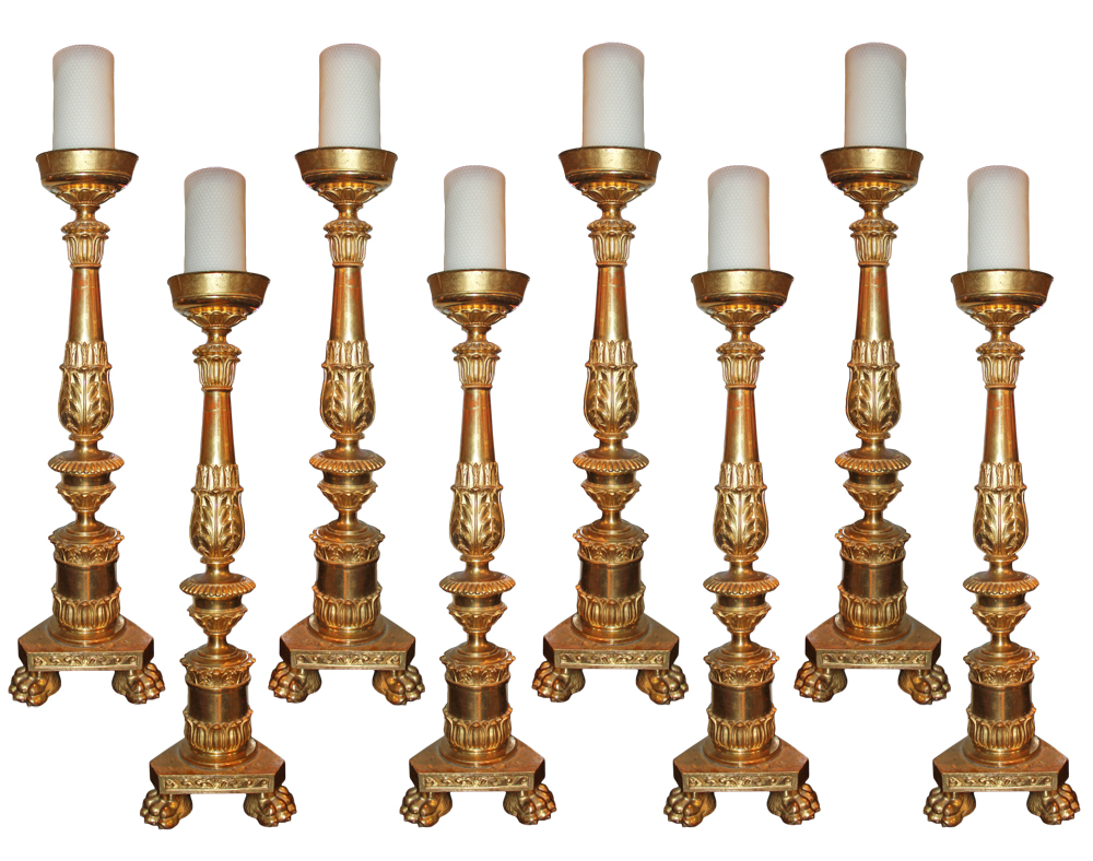 A Rare Set of Eight Large Ecclesiastical Giltwood Pricket Sticks No. 3088