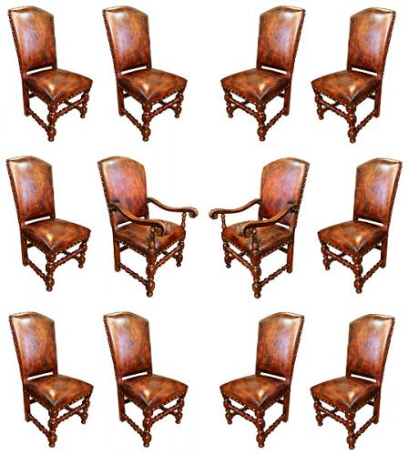 An Italian Set of Twelve 17th Century Baroque Walnut Dining Chairs (10 Side Chairs & 2 Armchairs) No. 4046