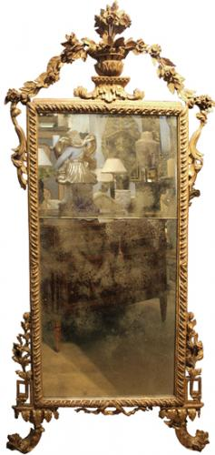 An 18th Century Luccan Giltwood Transitional Louis XV-Louis XVI Mirror No. 3634