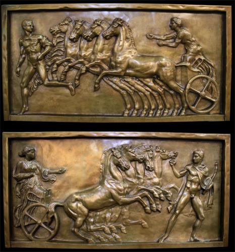 "A Pair of Signed 19th Century French ""Grand Tour"" High Relief Gilt-Bronze Wall Plaques No. 4058"
