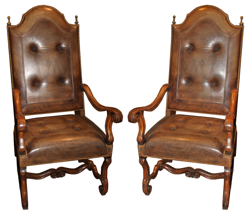 An Important Pair of 18th Century Italian Walnut Fauteuils No. 3134