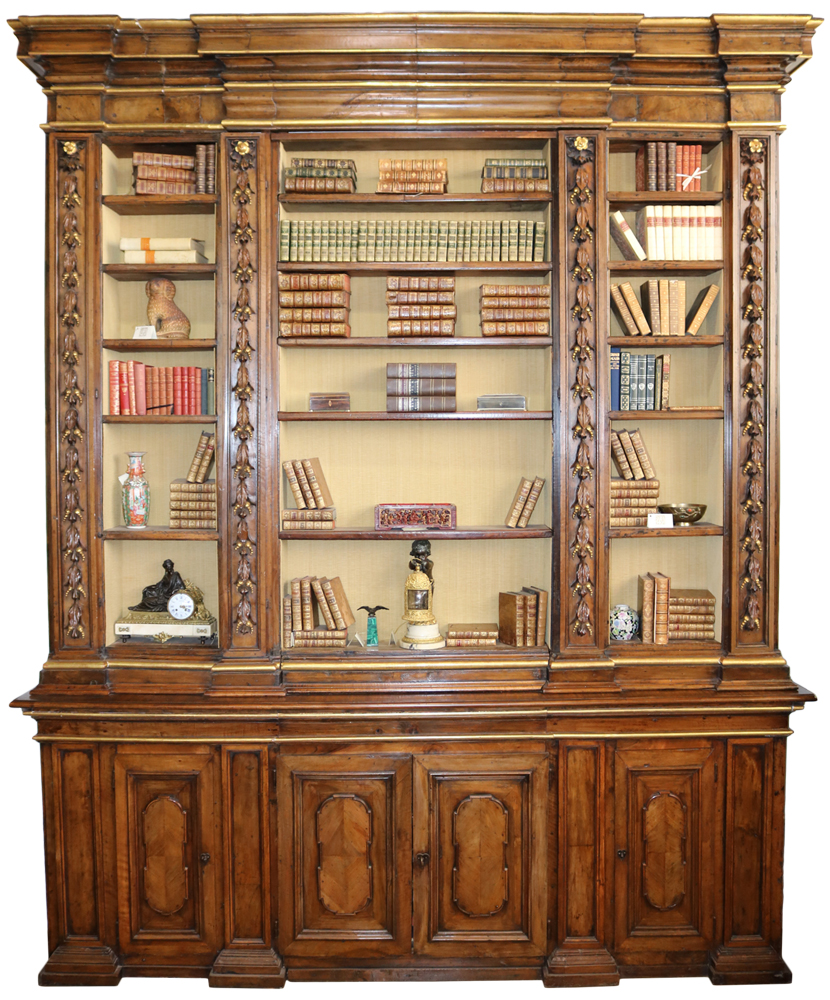 A Monumental 17th Century Walnut and Parcel-Gilt Tuscan Palazzo Archival Bookcase No. 3170