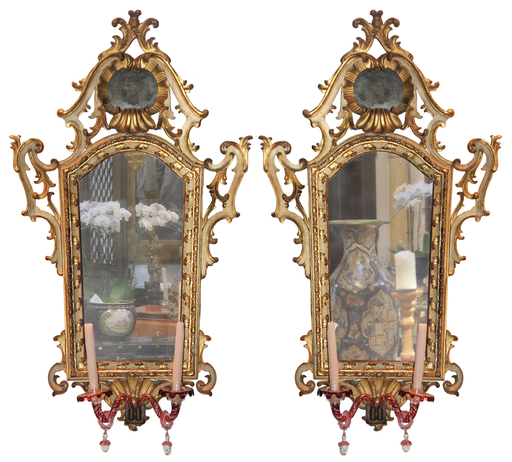 A Pair of Rococo Venetian Giltwood Mirrors No. 3176