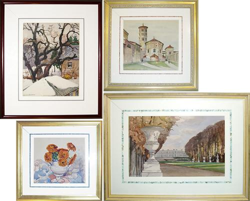 A Set of Four Continental Watercolors No. 3326