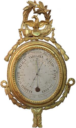 An 18th Century Louis XVI Giltwood Barometer and Thermometer No. 4131
