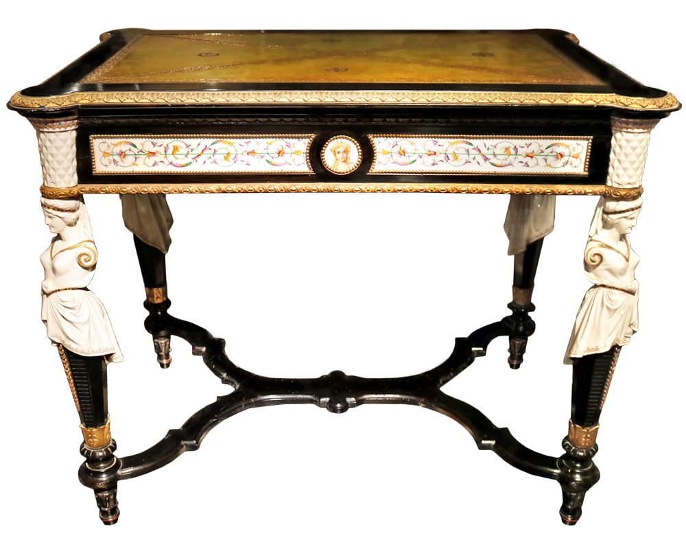 A 19th Century French Gilt Bronze and Porcelain Mounted Meuble de Style Table De Milieu No. 3235