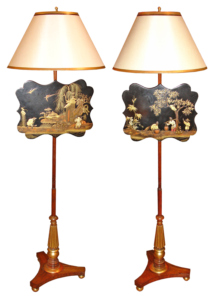 A Pair of 19th Century Chinoiserie and Parcel-Gilt and Polychrome Fire Screens No. 3242