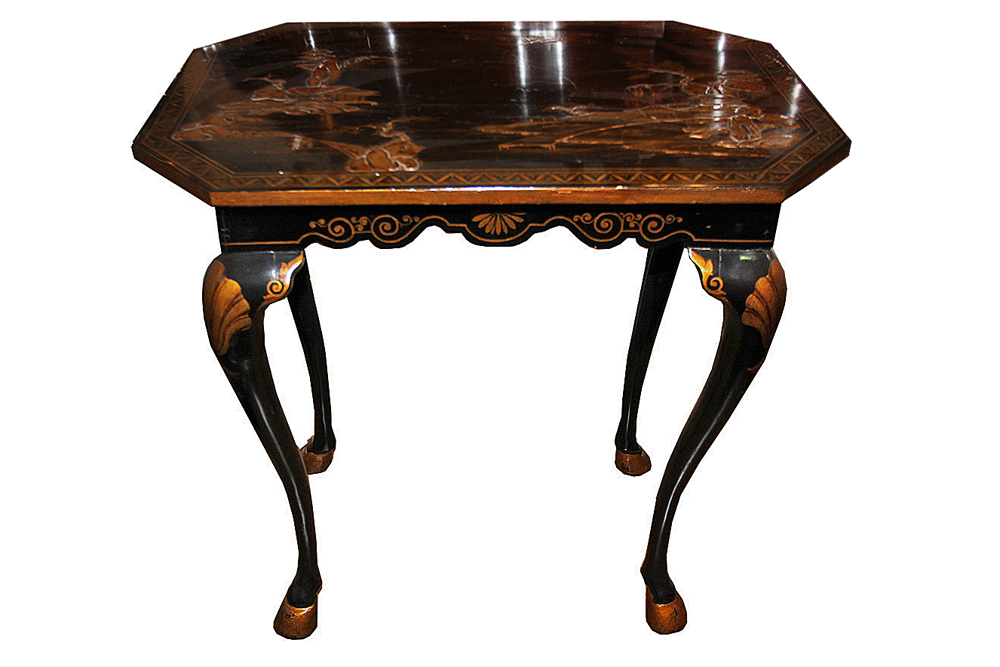 A 19th Century Black Lacquered and Gilt Rectangular Side Table No. 3262