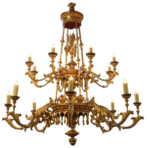 A Towering 19th Century Tuscan Giltwood Palazzo Chandelier No. 4201