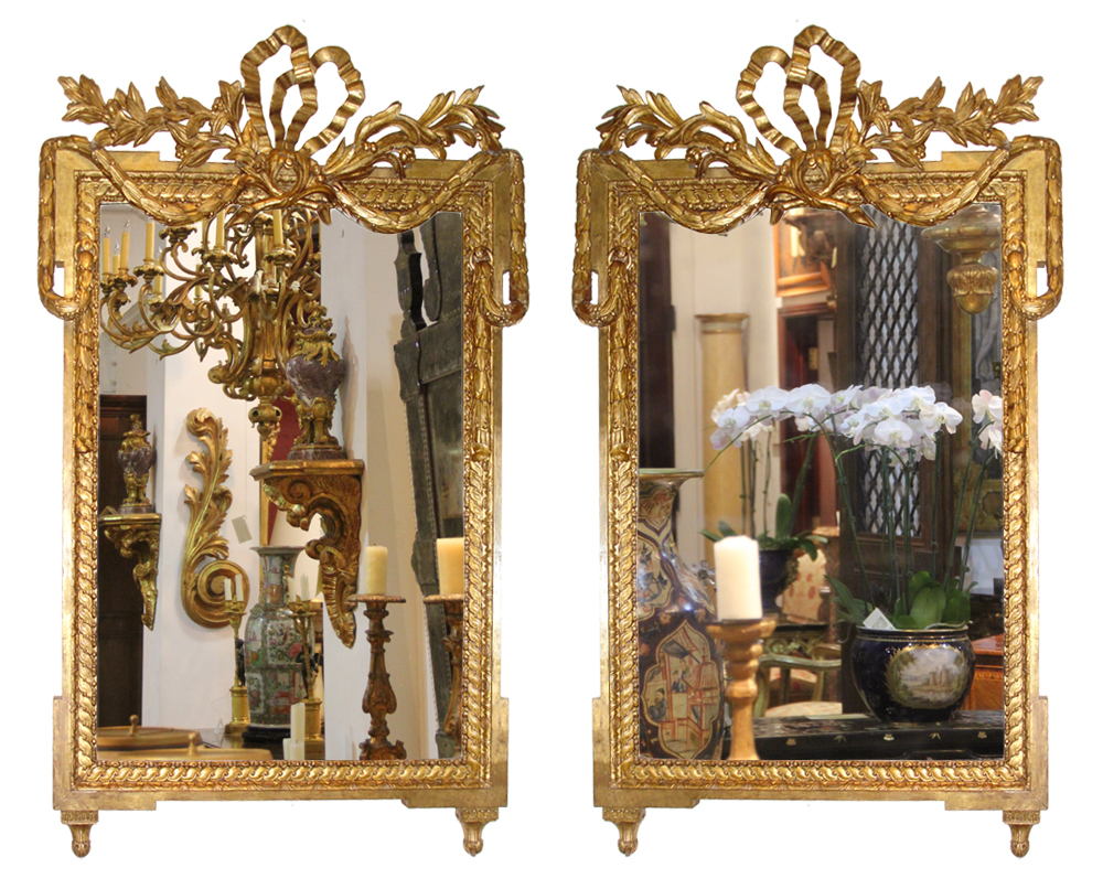 A Pair of Late 18th Century Italian Louis XVI Giltwood Mirrors No. 3310