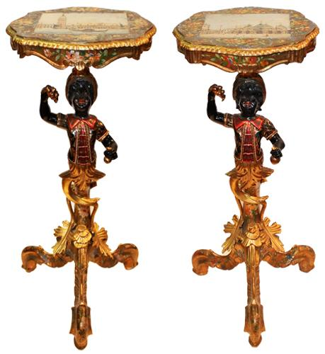 A Pair of 19th Century Grand Tour Venetian Polychrome and Parcel-Gilt Blackamoor Side Tables No.  4249