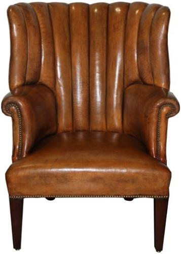 An Impressive 19th Century English Leather Library Chair No. 4237