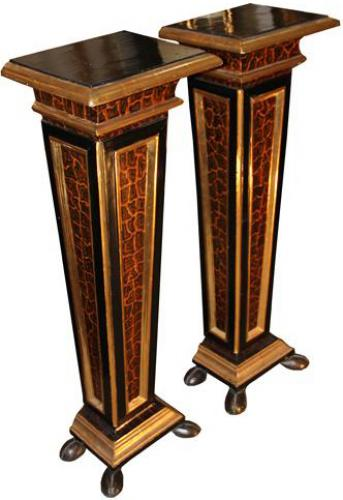 A Pair of Polychrome, Ebonized and Parcel-Gilt Florentine Pedestals No. 4266