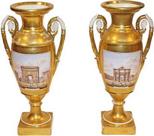 A Pair of Unusual 19th century French Grand Tour Porcelain de Paris Gold Urns No. 4259