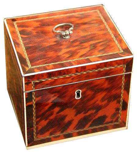 An Unusual Square 19th Century English Red Tortoiseshell Tea Caddy No. 4216