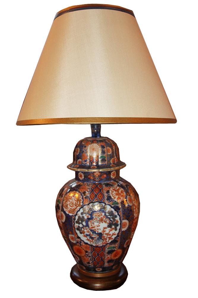 A 19th Century Japanese Export Imari Lidded Urn Lamp No. 3368