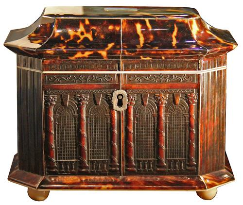 An Early 19th Century George III Pagoda-Top Pressed Tortoiseshell Double Tea Caddy No. 4222