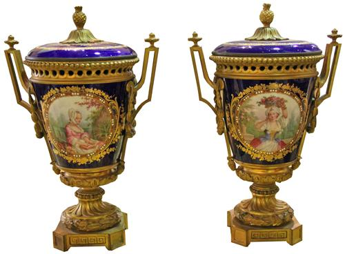 A Pair of 19th century French Porcelain and Ormolu Urns No. 4318