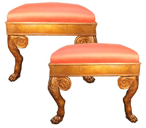 A Pair of 18th Century Louis XV Italian Giltwood Benches No. 4323