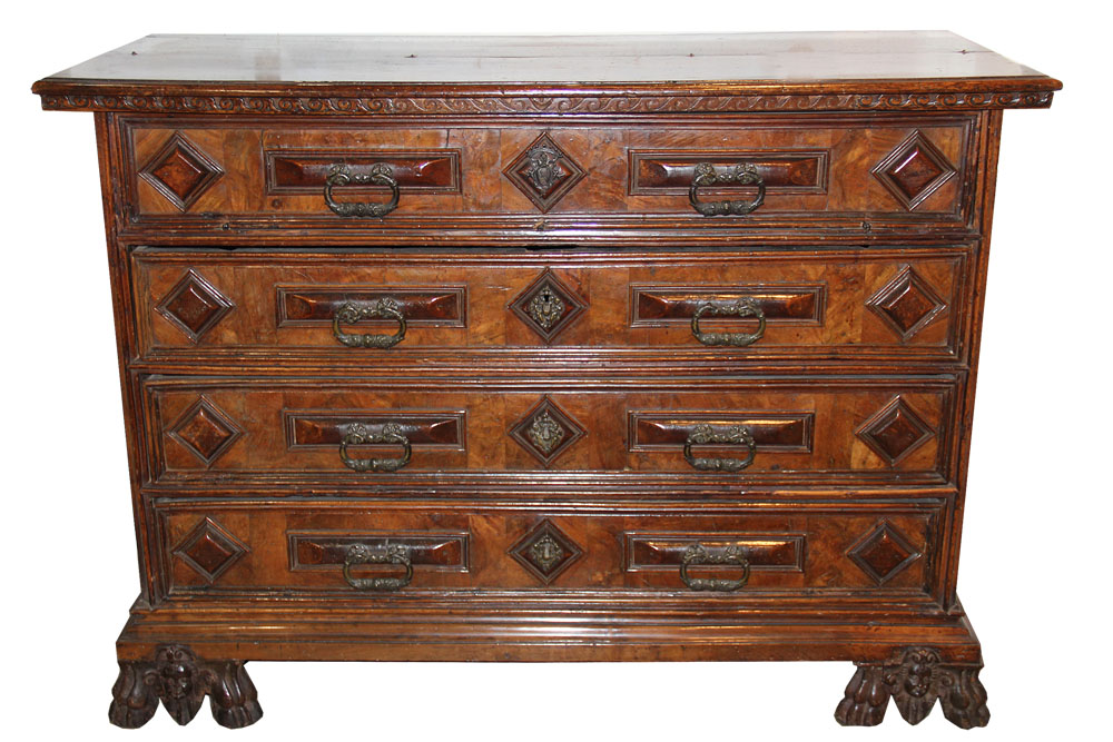 A 16th Century Tuscan Walnut and Tortoiseshell Bureau Commode No. 3413
