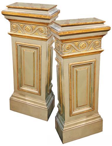 A Pair of 18th Century Italian Louis XVI Parcel-Gilt and Polychrome Pedestals No. 4331