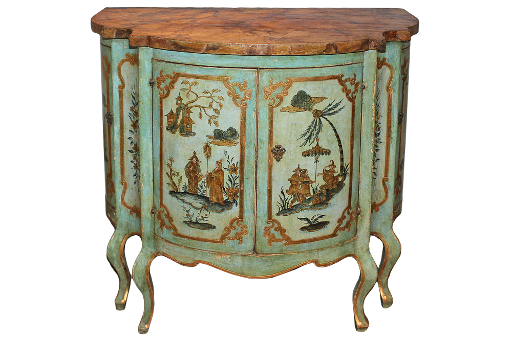 An 18th Century Venetian Bombé Polychrome and Parcel-Gilt Cabinet No. 3426